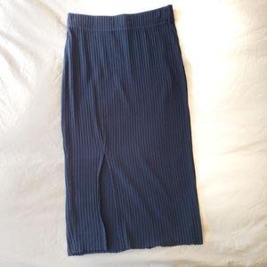 Zara Navy Blue Ribbed Midi Skirt with Slit